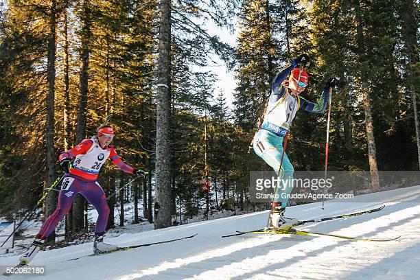 Olena Pidhrushna of Ukraine competes during the IBU Biathlon World Cup Men's and Women's Mass Start on December 20 2015 in Pokljuka Slovenia