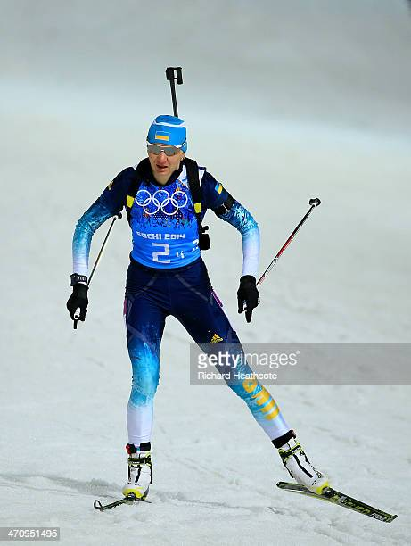 Olena Pidhrushna of Ukraine competes during the Women's 4 x 6 km Relay during day 14 of the Sochi 2014 Winter Olympics at Laura Crosscountry Ski...