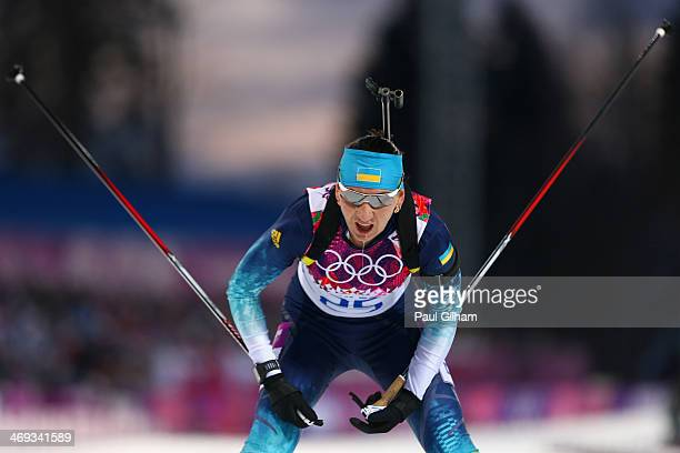 Olena Pidhrushna of Ukraine competes in the Women's 15 km Individual during day seven of the Sochi 2014 Winter Olympics at Laura Crosscountry Ski...