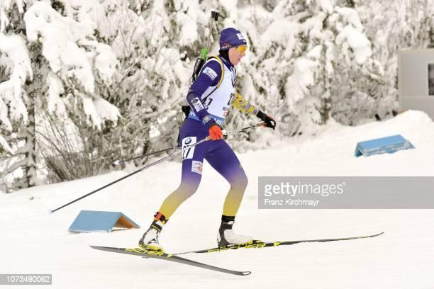 Olena Pidhrushna of Ukraine during the Women's 10 km Pursuit competition at Biathlon Stadium Hochfilzen on December 15 2018 in Hochfizen Austria