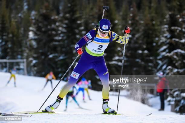 Olena Pidhrushna of Ukraine in action competes during the Women 10 km Pursuit of the IBU Cup Biathlon Sjusjoen on December 1 2019 in Sjusjoen Norway