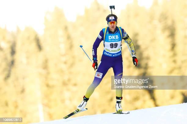 Olena Pidhrushna of Ukraine in action during the IBU Biathlon World Cup Women's Sprint on December 8 2018 in Pokljuka Slovenia