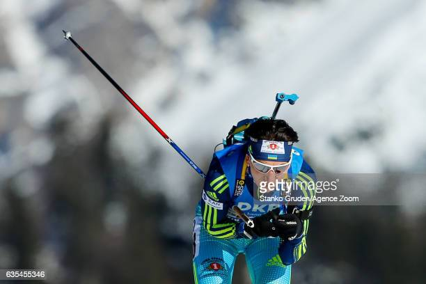 Olena Pidhrushna of Ukraine in action during the IBU Biathlon World Championships Women's Individual on February 15 2017 in Hochfilzen Austria