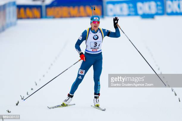 Olena Pidhrushna of Ukraine takes 2nd place during the IBU Biathlon World Cup Men's and Women's Relay on December 10 2017 in Hochfilzen Austria