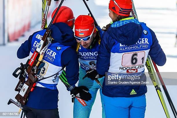 Olena Pidhrushna of Ukraine takes 3rd place during the IBU Biathlon World Cup Men's and Women's Relay on December 13 2015 in Hochfilzen Austria