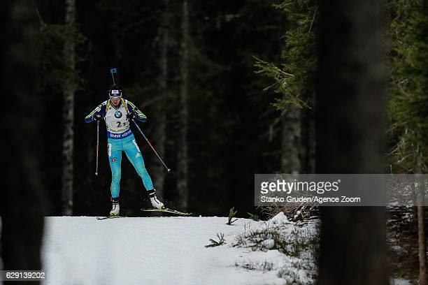 Olena Pidhrushna of Ukraine takes 3rd place during the IBU Biathlon World Cup Men's and Women's Relay on December 11 2016 in Pokljuka Slovenia