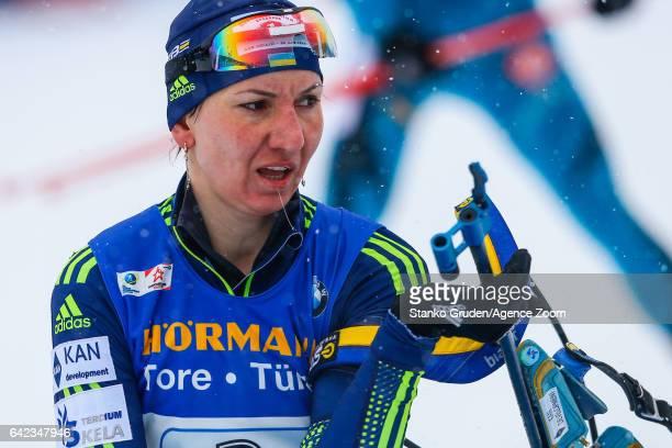 Olena Pidhrushna of Ukraine wins the silver medal during the IBU Biathlon World Championships Women's Relay on February 17 2017 in Hochfilzen Austria