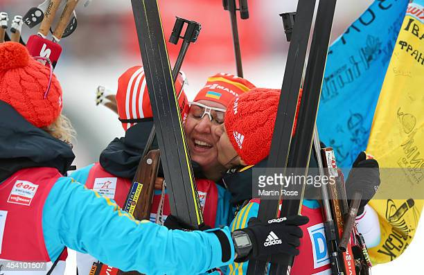 Olena Pidrushna of Ukraine celebrate with her team mates their 1st palce in the women's 4 x 6km relay event during the IBU Biathlon World Cup on...