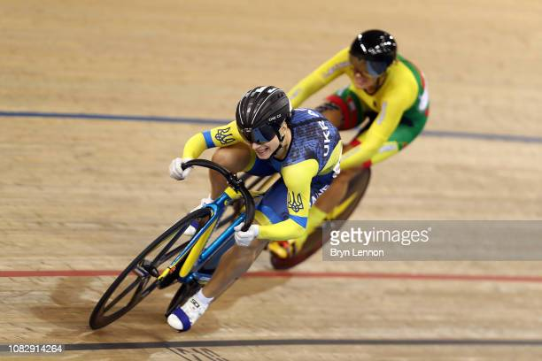 Olena Starikova of The Ukraine leads Simona Krupeckaite of Lithuania in the Women's Sprint quarterfinal during Day Two of the 2018 TISSOT UCI Track...