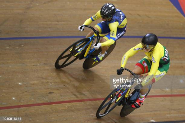 Olena Starikova of Ukraine and Migle Marozaite of Lithuania compete in the Sprint Women 1/8 final on Day 3 of the European Championships Glasgow 2018...