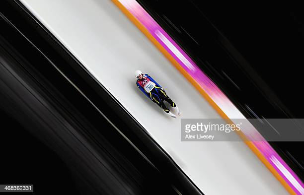Olena Stetskiv of Ukraine makes a run during the Women's Luge Singles on Day 3 of the Sochi 2014 Winter Olympics at Sliding Center Sanki on February...