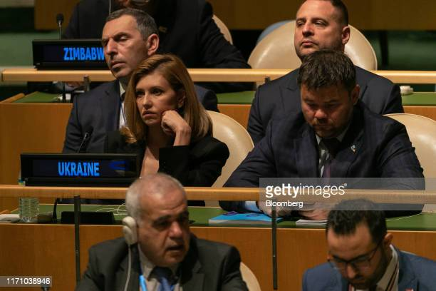 Olena Zelenska Ukraine's first lady left attends the UN General Assembly meeting in New York US on Wednesday Sept 25 2019 Donald Trump asked Ukraine...