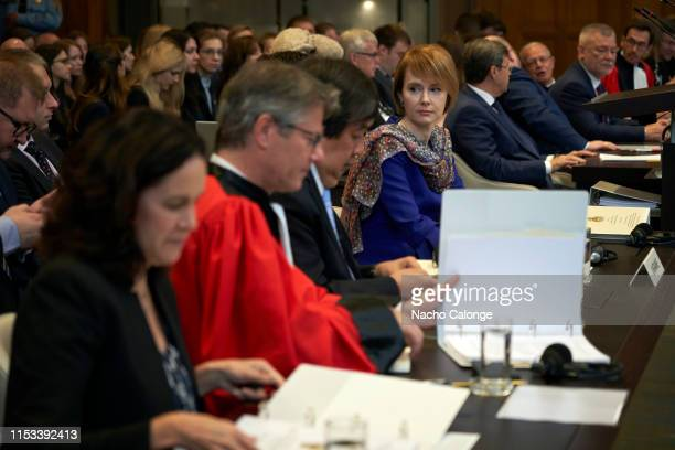 Olena Zerkal, the Vice-Chancellor of Ukraine, is seen seated at the International Court of Justice for the start of hearings on the preliminary...