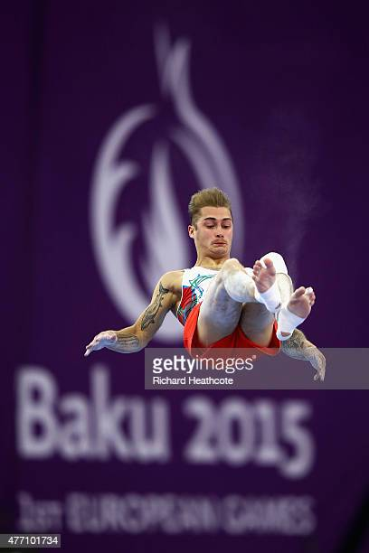 Oleq Stepko of Azerbaijan compeates on the floor during day two of the Baku 2015 European Games at National Gymnastics Arena on June 14 2015 in Baku...