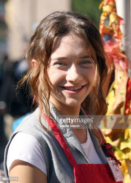 Olesya Rulin attends the Los Angeles Mission Thanksgiving meal for the homeless at Los Angeles Mission on November 25 2009 in Los Angeles California