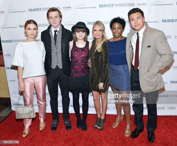 """Olesya Rulin, Eddie Hassell, Joey King, Kristin Chenowith, Lisa Lauren Smith and Chase Maser attend """"Family Weekend"""" New York Screening at Chelsea..."""