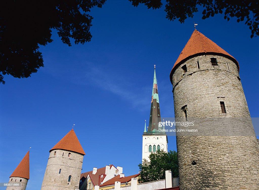 Oleviste Church, Old Town Wall, Old Town, Tallinn, Estonia : Stock Photo
