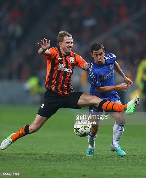 Olexandr Kucher of Shakhtar Donetsk fouls Eden Hazard of Chelsea during the UEFA Champions League Group E match between Shakhtar Donetsk and Chelsea...