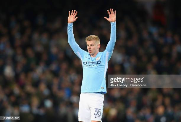 Olexandr Zinchenko of Manchester City calls for the ball during the UEFA Champions League Round of 16 Second Leg match between Manchester City and FC...