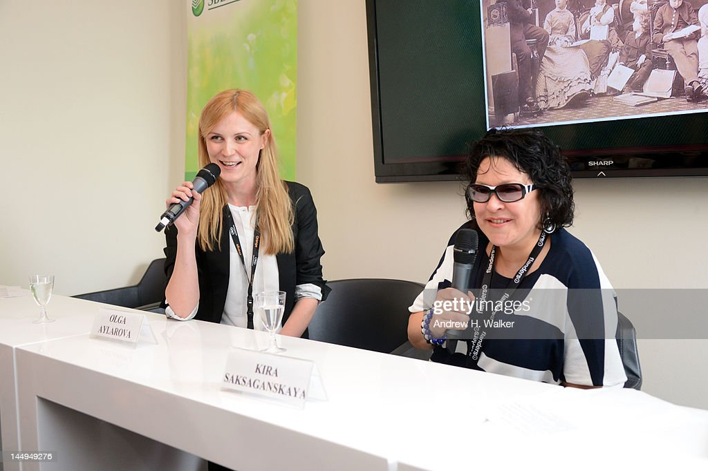 Olga Aylarova and Kira Saksaganskaya speak at the Russian Film Panel during the 65th Annual Cannes Film Festival at the Russian Pavillion on May 21, 2012 in Cannes, France.