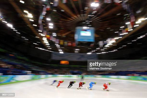 Olga Belyakova of Russia leads Cecilia Maffei of Italy Kalyna Roberge of Canada Evgeniya Radanova of Bulgaria Elise Christie of Great Britain and...