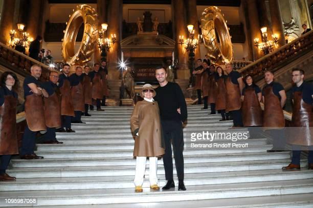 Olga Berluti and Stylist Kris Van Assche attend the Berluti Menswear Fall/Winter 2019-2020 show as part of Paris Fashion Week on January 18, 2019 in...