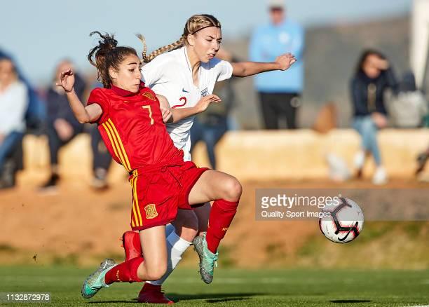 Olga Carmona of Spain scores the winner goal during the 14 Nations Tournament match between U19 Women's Spain and U19 Women's England at La Manga...