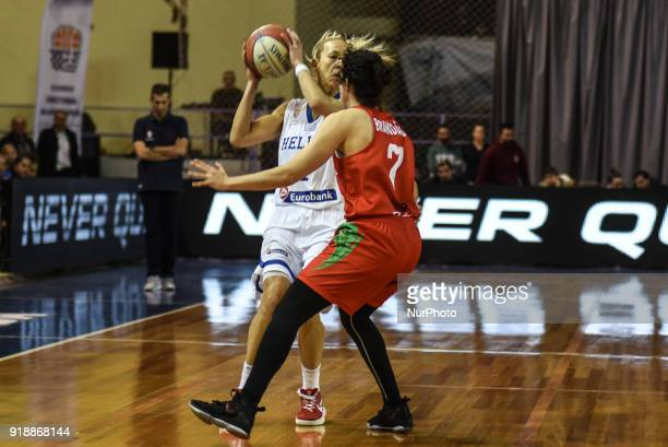 Olga Chatzinikolaou power forward of the Greek team against Michelle Brandao power forward of the Team of Portugal during FIBA Women's EuroBasket...