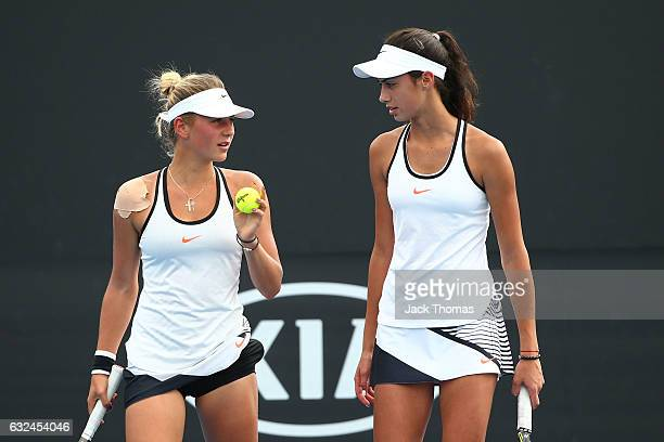 Olga Danilovic and Marta Kostyuk compete against Gabriella Da Silva Fick and Kaitlin Staines of Australia during the Australian Open 2017 Junior...