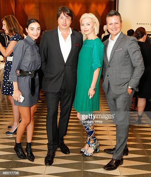 Olga Dzilikhova Gianvito Rossi Sonya Molodetskaya and Edward Teran pose for a photograph at the Susan Atherton and Barneys New York private luncheon...