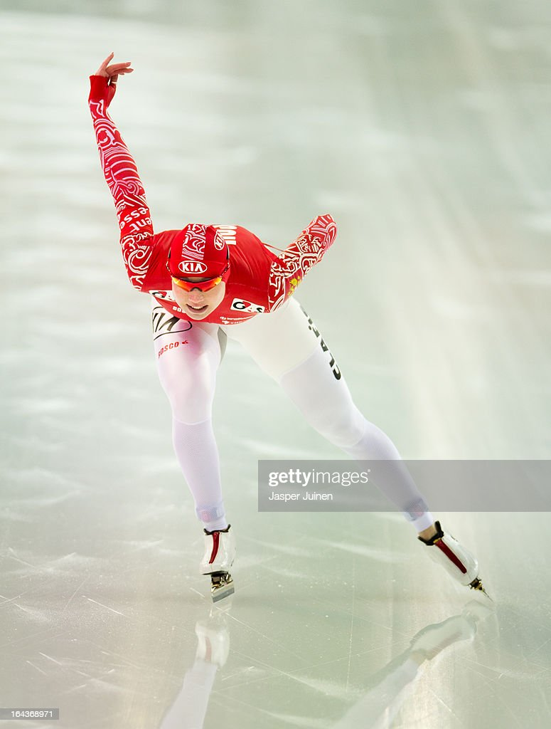 Olga Fatkulina of Russia competes during her1000m race to win gold on day three of the Essent ISU World Single Distances Speed Skating Championships at the Adler Arena Skating Center on March 23, 2013 in Sochi, Russia.