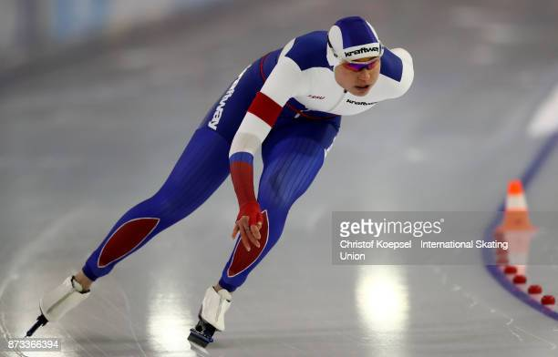 Olga Fatkulina of Russia competes during the 1000m ladies Division A on Day Three during the ISU World Cup Speed Skating at the Thialf on November 12...