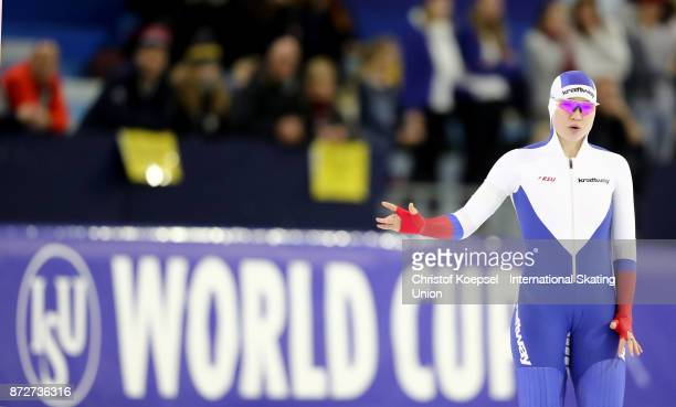 Olga Fatkulina of Russia competes during the first ladies 500m Division A race on Day One during the ISU World Cup Speed Skating at the Thialf on...