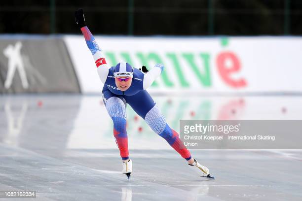 Olga Fatkulina of Russia competes during the ladies second 1000 meter sprint race of Day 3 of the ISU European Speed Skating Championships at Ritten...