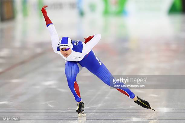 Olga Fatkulina of Russia competes in the 1000m Ladies Sprint Race on Day Three of the ISU European Speed Skating Championships held at the Thialf on...