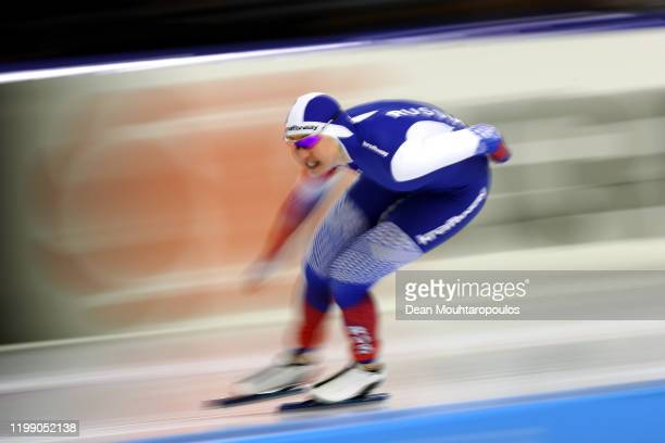 Olga Fatkulina of Russia competes in the 1000m Women Final during the ISU European Speed Skating Championships at on January 12 2020 in Heerenveen...