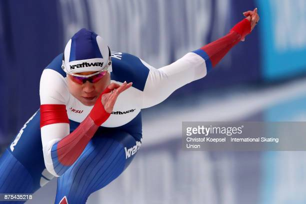 Olga Fatkulina of Russia competes in the first ladies 500m Division A race during Day 1 of the ISU World Cup Speed Skating at Soermarka Arena on...