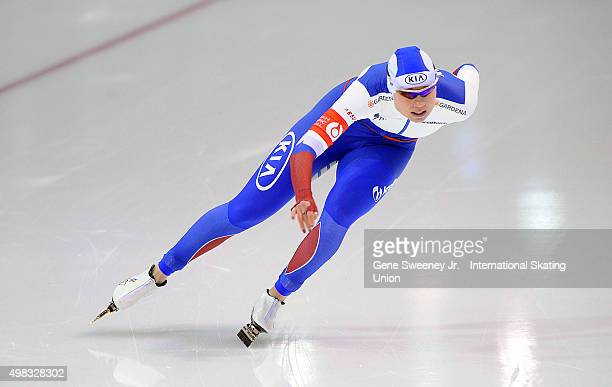 Olga Fatkulina of Russia competes in the Ladies 1000m event on day three of the ISU World Cup Speed Skating Salt Lake City event at the Utah Olympic...