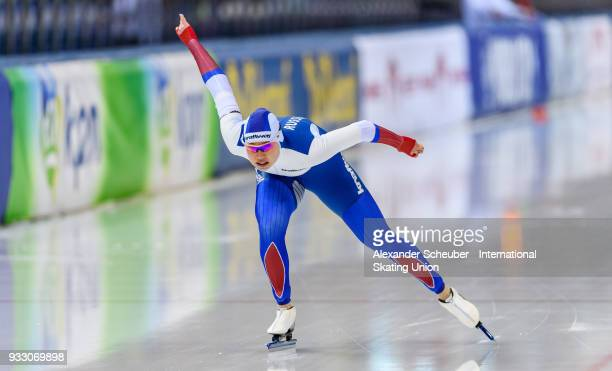 Olga Fatkulina of Russia competes in the Ladies 1000m Final during the ISU World Cup Speed Skating Final at Speed Skating Arena on March 17 2018 in...