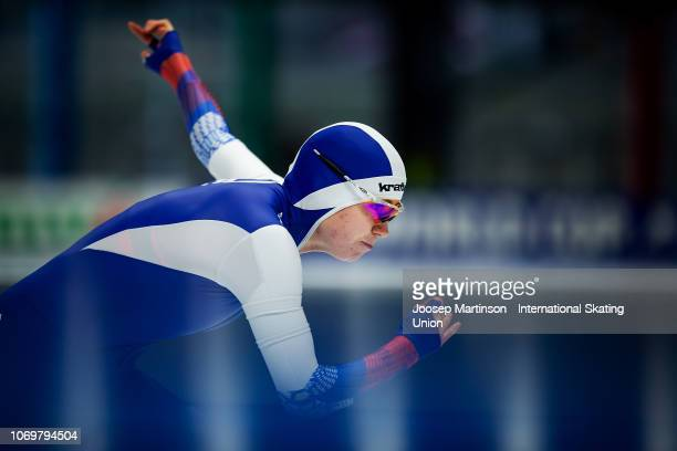 Olga Fatkulina of Russia competes in the Ladies 500m 2nd Race during ISU World Cup Speed Skating at Tomaszow Mazoviecki Ice Arena on December 8 2018...