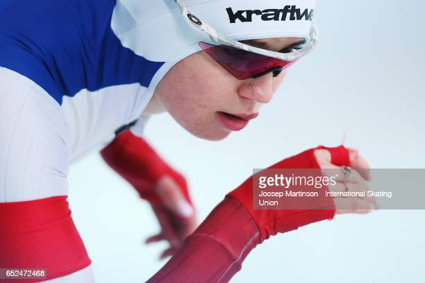 Olga Fatkulina of Russia competes in the Ladies 500m during day 2 of the ISU World Cup Speed Skating at Soermarka Arena on March 12 2017 in Stavanger...