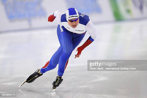 Olga Fatkulina of Russia competes in the Ladies Divison A 1000m race during the ISU World Cup Speed Skating Day 1 at the Sportforum Berlin Stadium on...