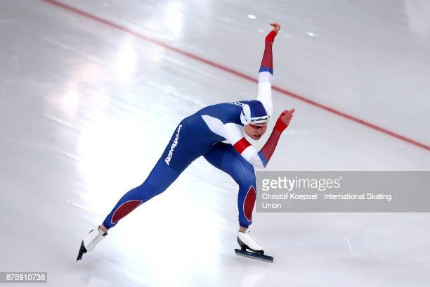 Olga Fatkulina of Russia competes in the second ladies 500m Division A race during Day 2 of the ISU World Cup Speed Skating at Soermarka Arena on...