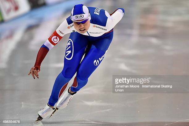 Olga Fatkulina of Russia competes in the Women's 1000m race on day three of the ISU World Cup Speed Skating Salt Lake City Event at the Utah Olympic...