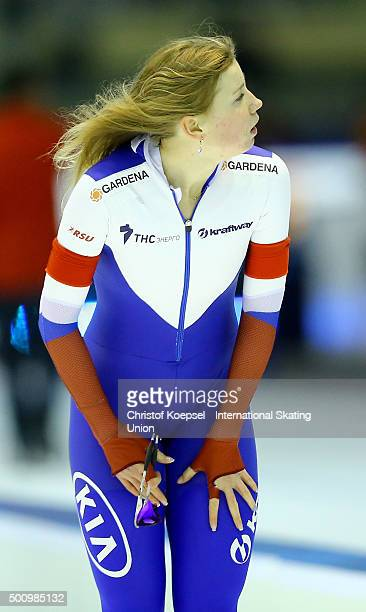 Olga Fatkulina of Russia is seen after the ladies team sprint during day 1 of ISU Speed Skating World Cup at Thialf Ice Arena on December 11 2015 in...
