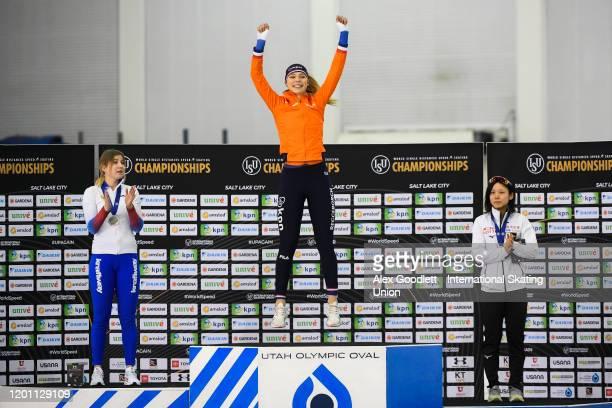 Olga Fatkulina of Russia Jutta Leerdam of the Netherlands and Miho Takagi of Japan celebrate after the ladies' 1000 meter during the ISU World Single...