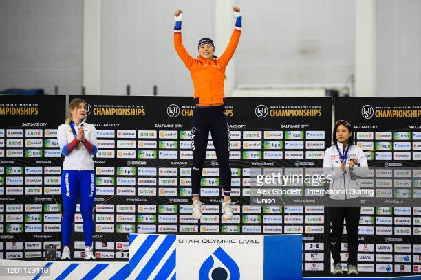 Olga Fatkulina of Russia Jutta Leerdam of the Netherlands and Miho Takagi of Japan celebrate after the ladies' 1000 meter during the ISU World Single...