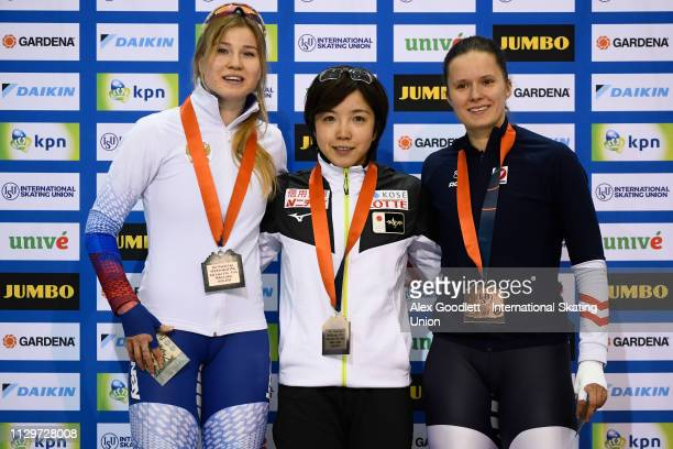 Olga Fatkulina of Russia Nao Kodaira of Japan and Vanessa Herzog of Austria stand on the podium after the women's 2nd 500m duing the ISU World Cup...