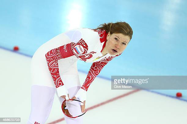 Olga Fatkulina of Russia reacts after competing during the Women's 500m Race 1 of 2 Speed Skating event during day 4 of the Sochi 2014 Winter...
