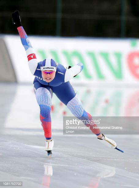 Olga Fatkulina of Russia skates and won the second place of the European Sprint Championships during Day 3 of the ISU European Speed Skating...